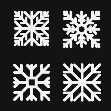 Set square snowflake. Flat icon. Vector