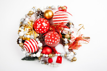 Set of different christmas decorations closeup shot, top view, flat lay