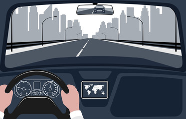 view of the road from the car interior vector illustration.