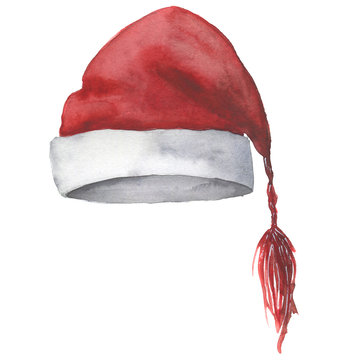 Watercolor Santa hat. Hand painted Christmas red hat isolated on