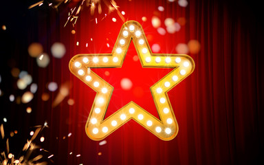 Winner. Retro light sign. Gold stars on red curtain background with sparks. Vintage style banner. 3d illustration