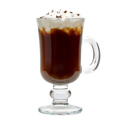 Irish coffee isolated on white background including clipping path