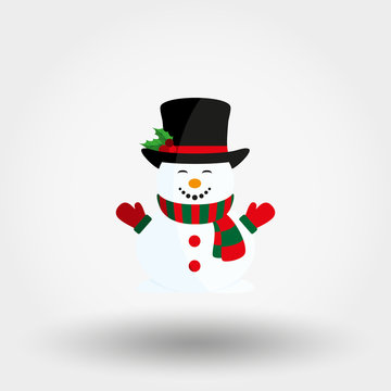 Snowman with hat and scarf. Icon. Vector. Flat.