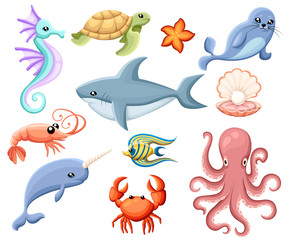 Cute vector sea creatures. Cartoon smiling sea animals. Co ored sea fish and seahorse, whale and octopus illustration seal crab shell shark octopus shrimp Web site page and mobile app design