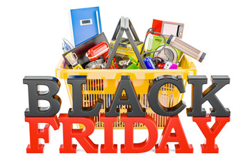 Black Friday inscription with shopping basket full of home and kitchen appliances, 3D rendering