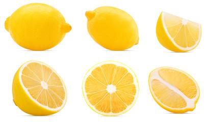 Collection Ripe lemon whole, cut in half, slice. Fototapete