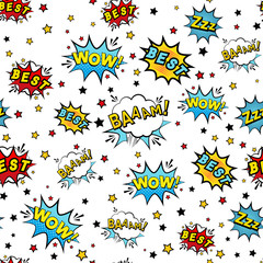 Abstract seamless patch pattern for girls, boys, clothes. Creative vector patch background with stickers, speach bubble. Funny bubble pattern wallpaper for textile and fabric. Fashion pop art style.
