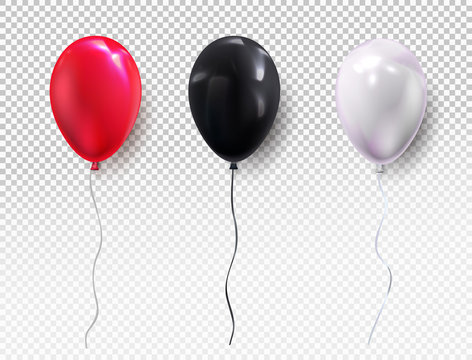 Set colors helium balloon. Birthday balloon red, black, white, flying for party and celebrations. For your design and business. Vector illustration. Isolated on transparent background