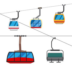 Different types of ski kabins with ropes.
