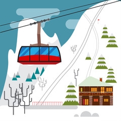 Winter landscape with ski resort, ski funicular and hotels