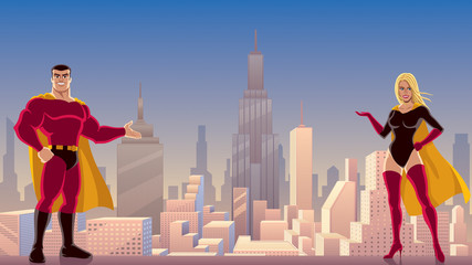 Superhero Couple Presenting / Male and female superheroes presenting something, with cityscape as background.