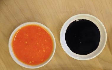 Two tones dipping sauce of delicious legendary Singaporean Haina