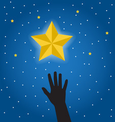silhouette of a human hand reaching for a beautiful bright star in the night sky