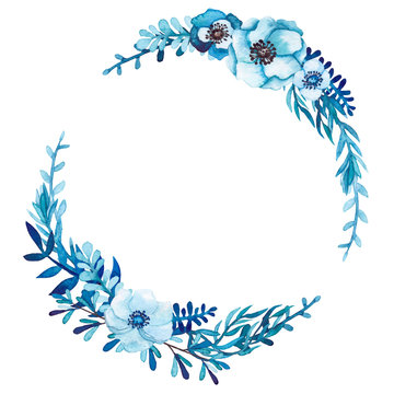 Watercolor Wreath with Blue Flowers and Leaves