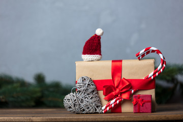 Christmas gift with bowknot and lollipop with candy