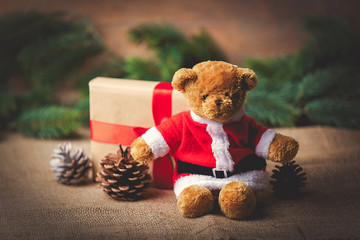 Christmas gift and teddy bear