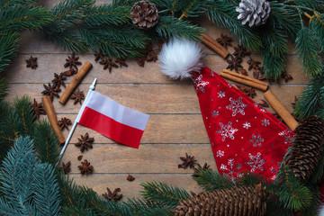 Poland flag and Christmas decoration