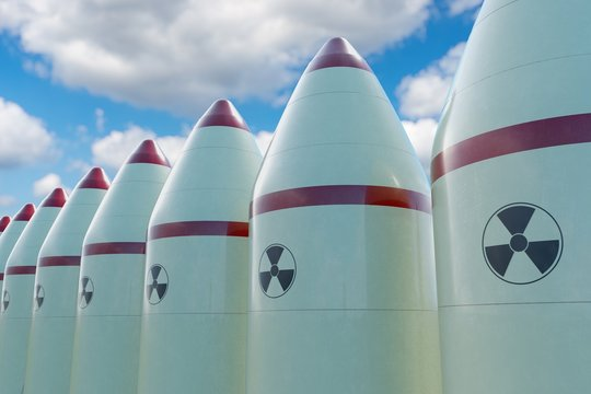 Many nuclear missiles. 3D rendered illustration.