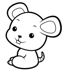 Black And White Mouse mascot sits sideways. Asian Zodiac Isolated Rat Vector Illustration.