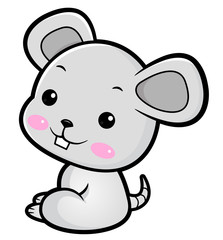 Mouse character sits sideways. Asian Zodiac Isolated Rat Vector Illustration.