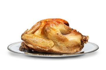 Golden Roasted Turkey Isolated on White