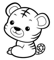 Black And White Tiger mascot sits sideways. Asian Zodiac Isolated Tiger Vector Illustration.