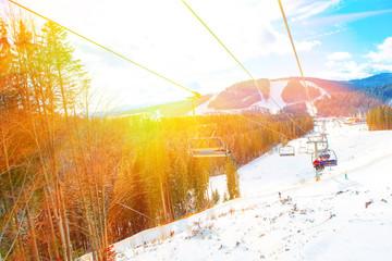 Ski ropeway elevator
