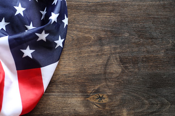 American flag on a wooden texture table