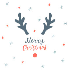 Christmas card with hand drawn lettering, deer horns, stars and snowflakes
