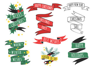 Christmas hand drawn tape badges style holiday season decoration vector logo illustration.