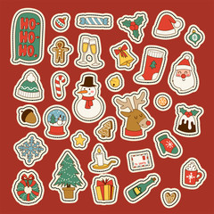 Christmas greeting card stickers symbols vector winter celebration design holidays winter decoration ornament illustration.