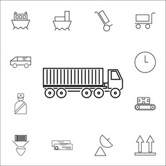 Container Truck icon. Set of Logistic icons. Premium quality graphic design. Signs, outline symbols collection, simple thin line icon for websites, web design, mobile app, info graphics icon