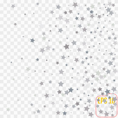 Star Falling Print. Transparent  Silver Starry Background. Vector Confetti Star Background Pattern. Gray Starlit Card. Confetti Fall Chaotic Decor. Modern Creative Pattern.