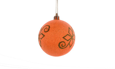 Christmas decorations. Yellow ball on white background