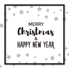 Merry Christmas and Happy New Year background with christmas elements, text with different fonts and frame. Vector design