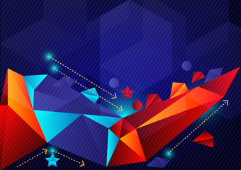 Colorful geometric abstract vector background with copy space