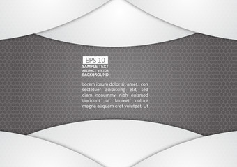 Gray and white geometric abstract vector background with copy space