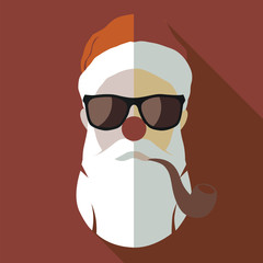Vector hipster Santa Claus fashion silhouette with cool beard  glasses and smoking Pipe