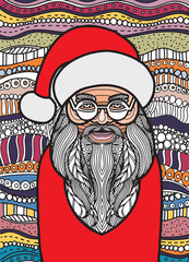 Drawing Santa claus zentangle style for coloring book, tattoo, shirt design, logo, sign. stylized illustration of horse unicorn in tangle doodle style.