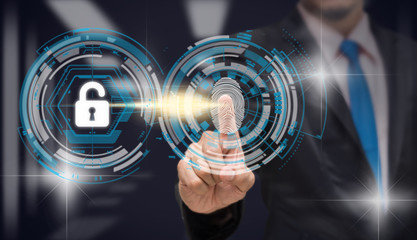 Businessman Fingerprint scan for biometric authentication to unlock security over the blurred data center server room background, Business Technology sceurity Concept.