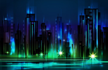 Illuminated night city skyline , vector illustration