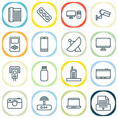 Device Icons Set With Gadget, Photo Apparatus, Antenna And Other Printer