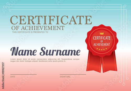 Blank Certified Border Template Vector Illustration Stock Image And