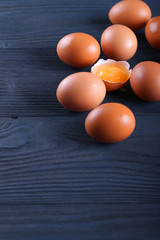 chicken eggs on a blue background
