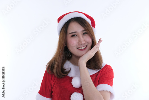957a543916318 portrait of asian woman in santa claus dress on white background. christmas  holiday. merry xmas celebration.