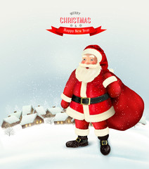 Christmas holiday background with Santa Claus holding a sack full presents and winter village. Vector illustration