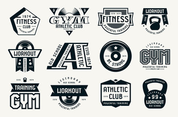 Gym club, fitness and workout badges