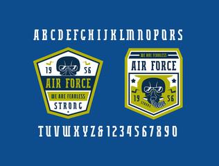 Narrow serif font and air force emblems