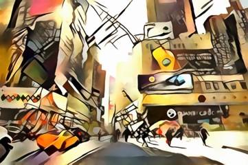 The interpretation of abstract city skyline illustration of new York's avant-garde