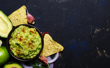 Corn Nachos and Guacamole Sauce, Food Background, Top View
